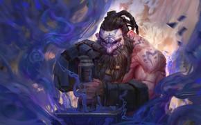 Обои фэнтези, кузнец, арт, Trung Tin Shinji, Blue Hammer, гном