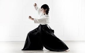 Обои обучение навыкам прочности, базовая стойка миги ханми, Aikido, Айкидо, Svetlana Druzhinina, спорт, практикующая, спортсменка, красивая, ...