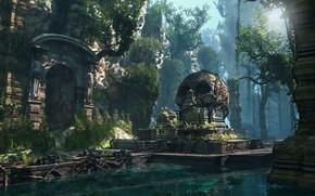 Картинка храм, Lost Civilization, водоём, горы, череп