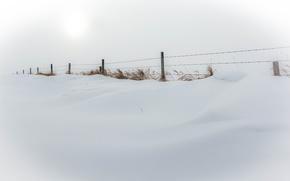 Обои природа, снег, зима, забор, минимализм