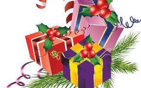 Картинка новый год, подарки, векторная графика