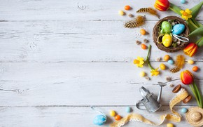 Обои весна, decoration, colorful, wood, Easter, Пасха, нарциссы, тюльпаны, tulips, eggs, яйца крашеные, Happy, spring, flowers, ...