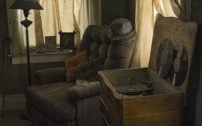 Картинка комната, кресло, винил, проигрыватель пластинок