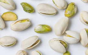 Картинка белый фон, орехи, nuts, фисташки, pistachios