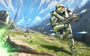 Картинка future, gun, grass, fantasy, game, Ghost, soldier, armor, sky, landscape, science fiction, mountains, clouds, sci-fi, …