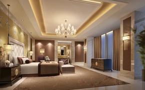 Картинка дизайн, кровать, интерьер, спальня, Luxury