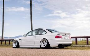 Картинка Авто, Белый, BMW, Машина, БМВ, День, Автомобиль, E46, BMW M3, Вид сбоку, Немец, BMW E46, ...
