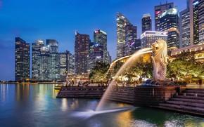 Обои город, MERLION PARK, фонтан, Сингапур, SINGAPORE