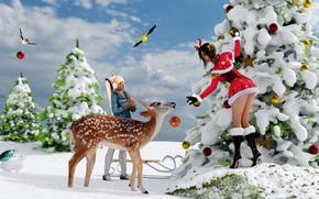 Обои животные, девушки, новый год, рождество