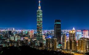 Картинка China, здания, панорама, Китай, Тайвань, ночной город, Тайбэй, небоскрёб, Taiwan, Taipei, Taipei 101, Тайбэй 101, …