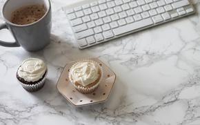 Обои кофе, клавиатура, coffee cup, cupcake, кексы, keyboard, marble