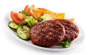 Картинка тарелка, помидоры, салат, котлеты, Мясо
