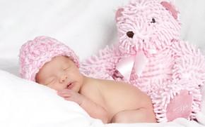 Картинка игрушка, сон, мишка, девочка, мех, малышка, шапочка, sleep, Teddy bear