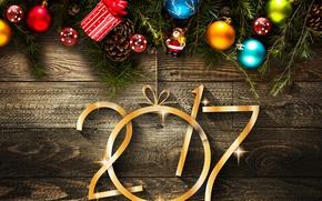 Обои шары, Новый год, елка, 2017, Christmas, New Year, balls, шишки, украшения, доска, decorations, Holidays