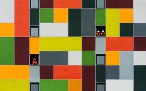 Картинка стена, краска, квадраты, разноцветные, покраска, прямоугольники, Гастарбайтер