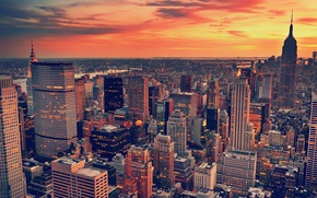 Картинка city, город, небоскребы, вечер, архитектура, сша, landscape, clouds, usa, architecture, skyscrapers