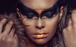 Картинка девушка, лицо, стиль, модель, краска, руки, Valeria Zankevic, Andreas-Joachim Lins