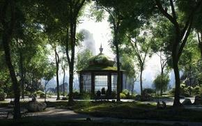 Картинка деревья, парк, камни, дорожки, обезьяны, павильон, valley of the monkeys