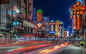 Картинка ночь, огни, улица, дома, Таиланд, Бангкок, трассы