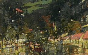 Картинка картина, городской пейзаж, Константин Коровин, Бульвар Ночью. Париж