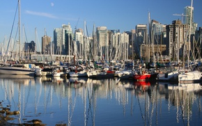 Картинка лодка, дома, яхта, Канада, Ванкувер, гавань