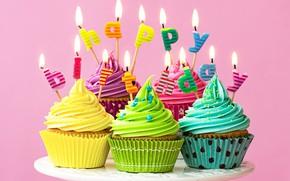 Обои свечи, colorful, rainbow, cake, крем, Happy Birthday, colours, cupcake, celebration, кексы, cream, decoration, candle, День ...