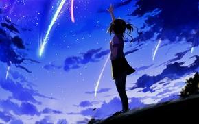 Картинка небо, вечер, аниме, арт, девочка, Kimi no Na wa, Твоё имя