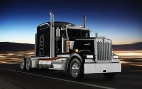 Обои тягач, Kenworth, чёрный, Icon 900, спецверсия W900L, движение, хром, дорога, грузовик