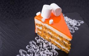 Обои десерт, крем, маршмеллоу, торт, кусок тортика