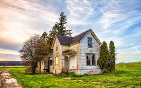 Картинка дорога, поле, дом
