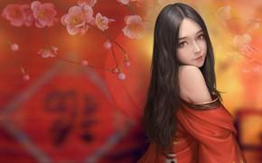 Обои девушка, весна, сакура, арт, Maou Renjishi