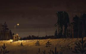 Картинка лес, ночь, фонарь, будка, bio thehost