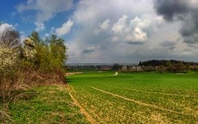 Картинка дорога, небо, трава, облака, деревья, тучи, пасмурно, поля, дома, Германия, Бавария, Schoenbach
