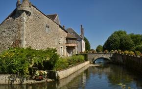 Картинка Франция, Канал, Bridge, France, Мостик, Medieval, Canal, Bonneval, Бонваль