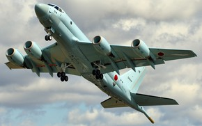 Обои Kawasaki, военный, небо, взлёт, самолёт, полёт, Kawasaki P1