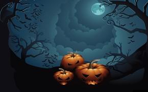 Картинка небо, деревья, ночь, праздник, тыквы, Хеллоуин