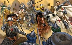 Обои saracens, helmet, blade, cross, sacred warrior, armor, knight templar, ken, spear, blood, knight, crusades, divine ...