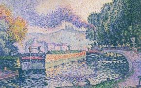 Картинка пейзаж, картина, Поль Синьяк, пуантилизм, Буксир. Канал в Самуа