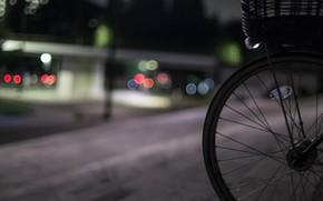 Картинка ночь, велосипед, город, огни, улица, боке