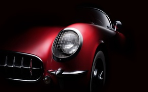 Картинка фара, решетка, формы, кузов, бампер, ретро автомобили, fine art photography, 1954 Corvette