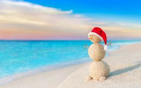 Картинка песок, море, пляж, Новый Год, Рождество, снеговик, happy, Christmas, beach, sea, snow, sand, Merry Christmas, …