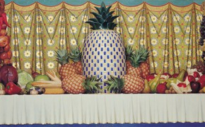 Картинка лимон, яблоки, кукуруза, лук, виноград, баклажан, тыква, натюрморт, груши, капуста, гранат, чеснок, грецкий орех, 1997, ...