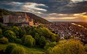 Картинка деревья, замок, Германия, панорама, Germany, Баден-Вюртемберг, Baden-Württemberg, Heidelberg, Гейдельбергский замок, Heidelberg Castle, Гейдельберг, Neckar River, …