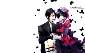 Картинка аниме, арт, kuroshitsuji, Сиэль, Тёмный дворецкий, дворецкий, Себастьян