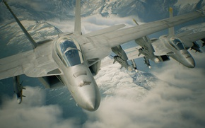 Картинка game, aircraft, war, cloud, hunt, montain, kumo, missiles, Bandai Namco Entertainment, Ace Combat, Ace Combat …