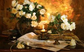 Обои розы, чернильница, свеча, рукопись, натюрморт, перо