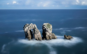 Картинка море, скалы, побережье, Испания, Spain, Costa Quebrada, Cantabria, Pielagos, Puerta del Mar