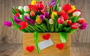 Картинка букет, colorful, тюльпаны, love, fresh, wood, flowers, romantic, hearts, tulips, gift