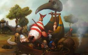 Картинка лодка, рыба, вёсла, Сюрреализм, Лазарев И.А, Засуха