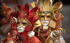 Обои пара, Венеция, карнавал, маски, костюмы